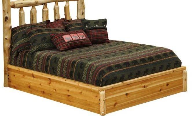 Cedar Traditional Log Platform Style Bed Lodge Craft