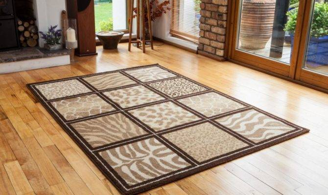 Cheap Modern Non Shed Safari Design Mats Funky Brown Checked Animal
