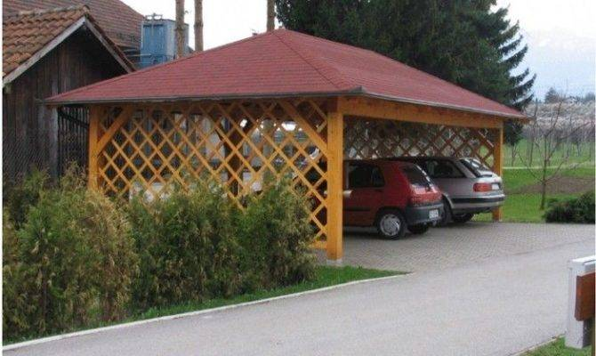 Cheap Wooden Carport Open Trellis Sides Outdoor Room