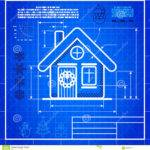 Christmas House Icon Like Blueprint Drawing Vector