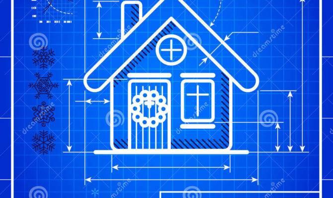 Christmas House Icon Like Blueprint Drawing Vector
