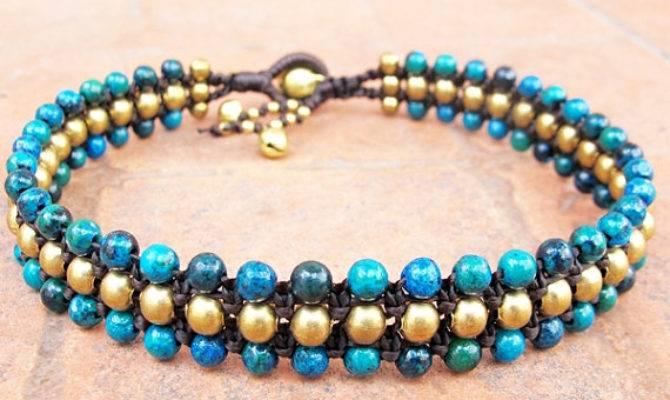 Chrysocolla Beaded Woven Ankle Bracelet Brass Bead
