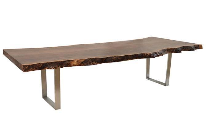 Claro Walnut Slab Dining Table Stainless Steel