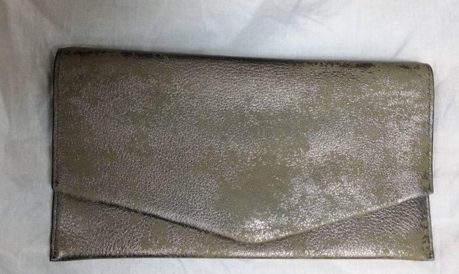 Cole Haan Women Crosby Metallic Envelope Clutch Gun Smoke
