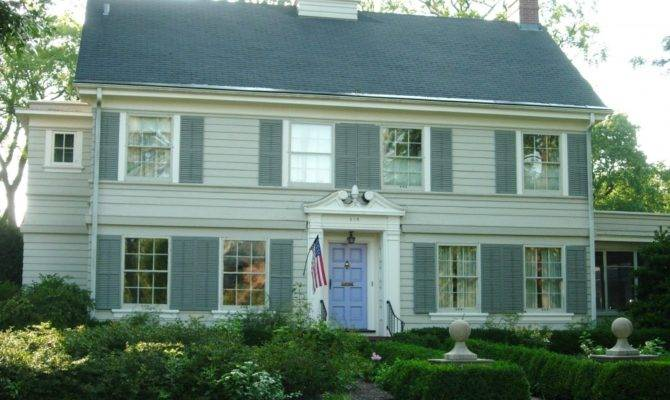 Colonial House Plans White Wooden Style American Flag Dutch