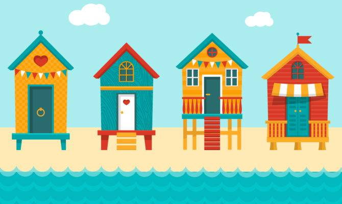 Colourful Beach Huts Vector Art