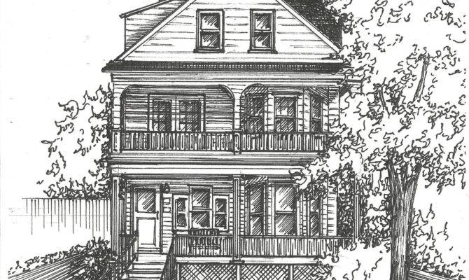 Commission Original Ink House Drawing Architectural