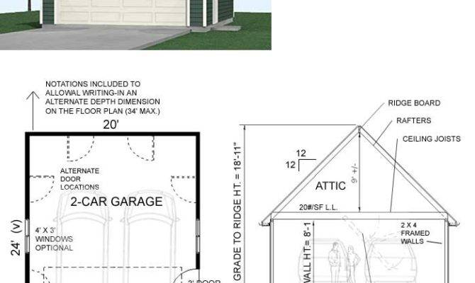 Compact Car Steep Roof Garage Attic Plan