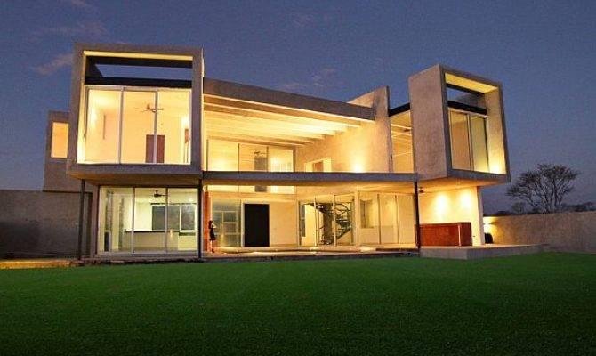 Concrete Facade Residence Big Windows Natural Light