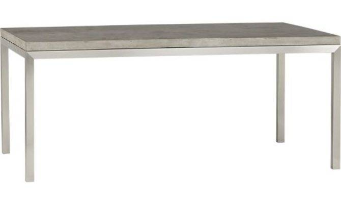 Concrete Top Stainless Steel Base Parsons Dining