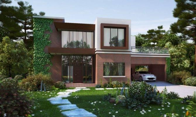 Contemporary Brick House Design Open Garage