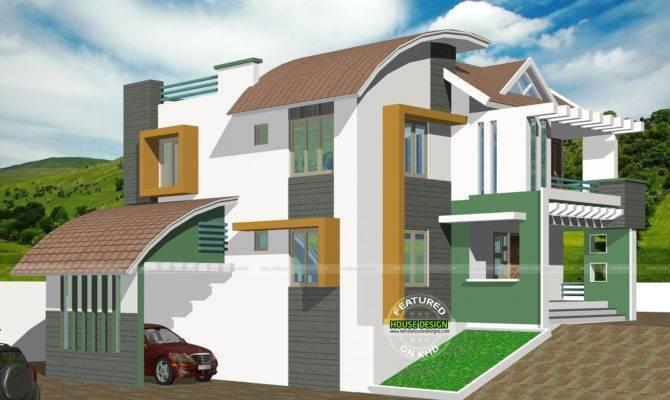 Contemporary Hillside House Kerala Home Design Floor
