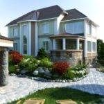 Contemporary House Garden Rock Border Edge Design Feat Bridge