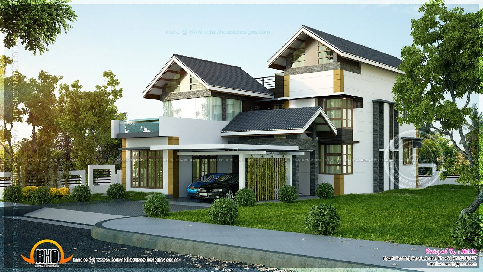 Contemporary Sloping Roof Home Kerala Design House Plans 166953