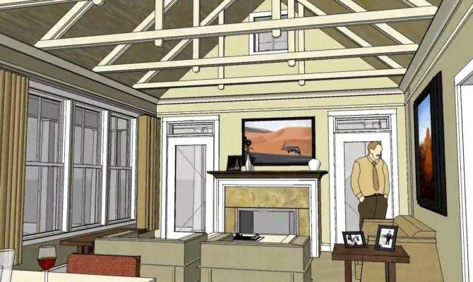Cottage Home Design Open Floor Plan Vaulted Ceiling Hudson