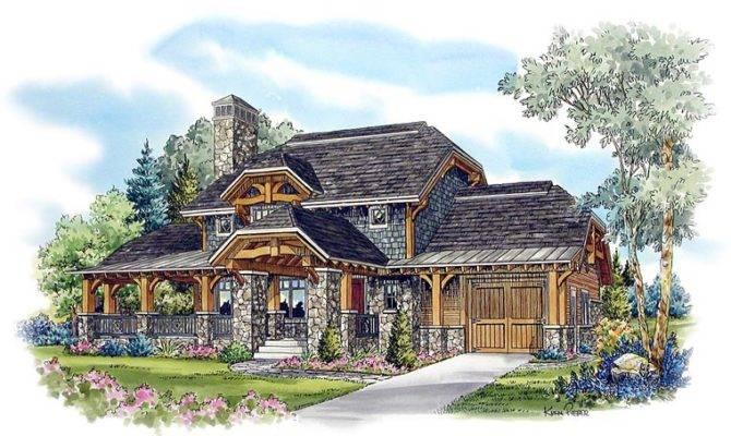 Country Craftsman Log House Plan Elevation