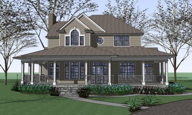 Country Farmhouse Wrap Around Porch Plan Maverick