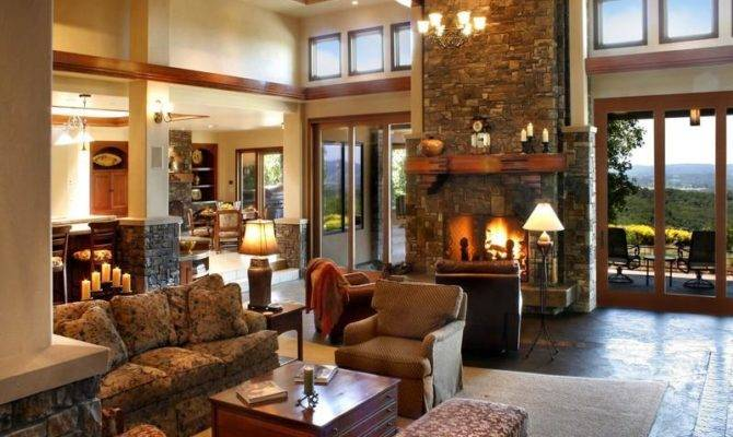 Country Home Living Room Design Fireplace Spacious House