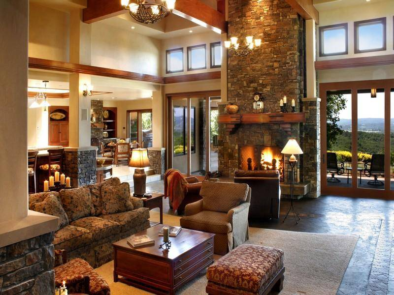 Country Home Living Room Design Fireplace Spacious House House Plans 10451