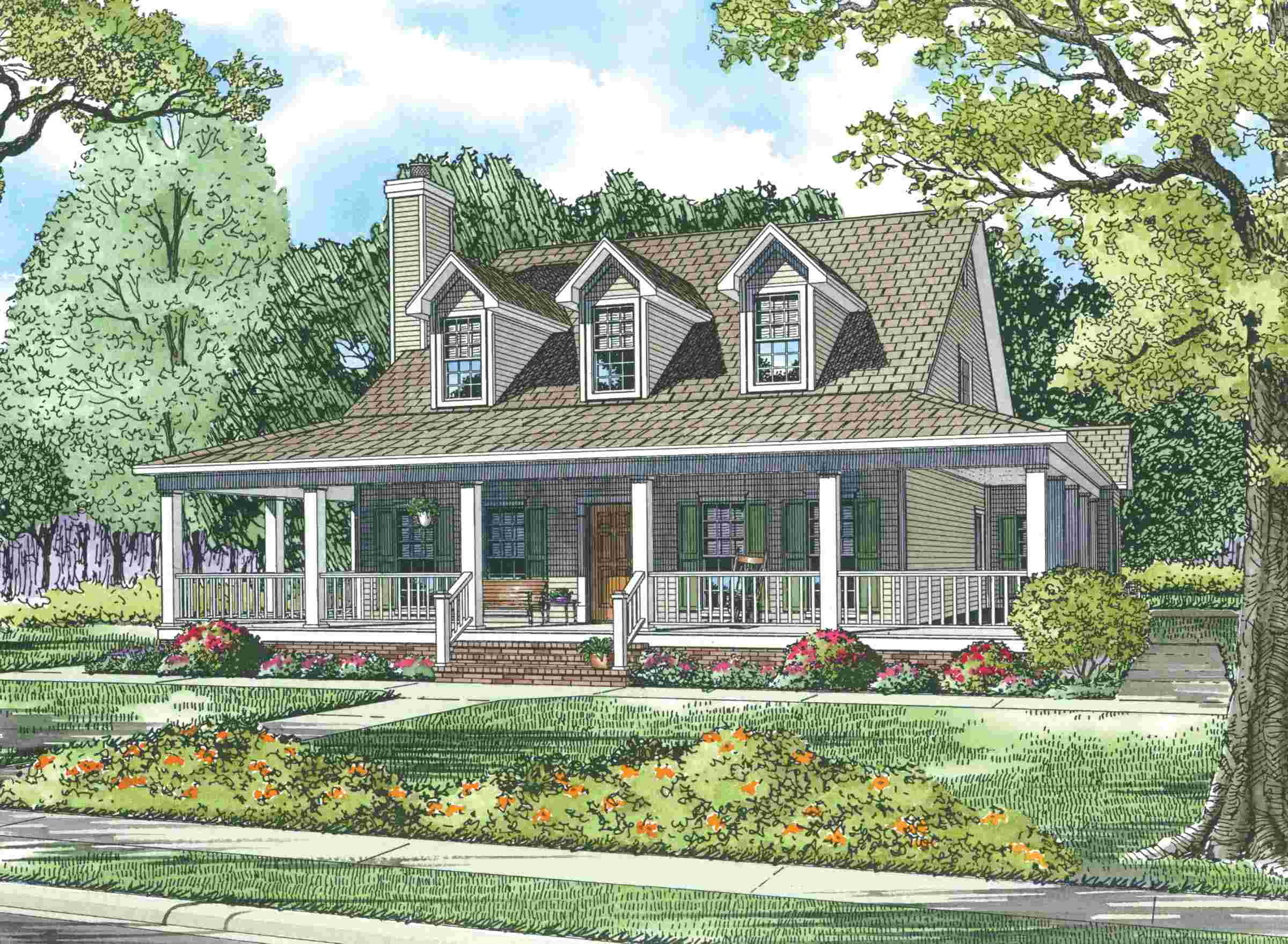 Country House Plans Wrap Around Porch - House Plans   #31732