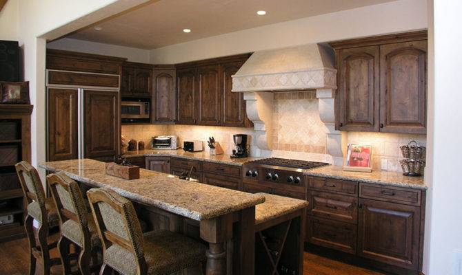 Country Kitchen Design Bar Top Seating Massive Wooden