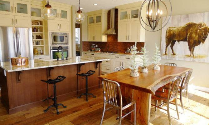 Country Kitchen Goes Modern Mix Wood Stainless