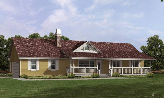 Country Ranch House Covered Front Porch