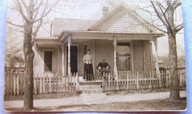 Couple Porch Country House Vintage Photograph Sepia Tone