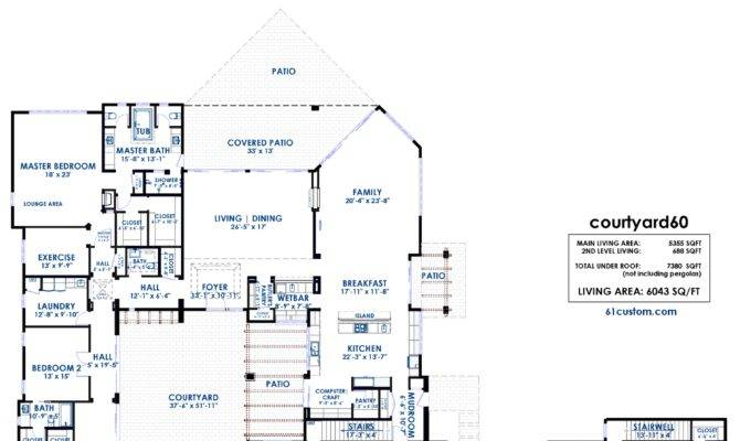 Courtyard Luxury Modern House Plan Custom