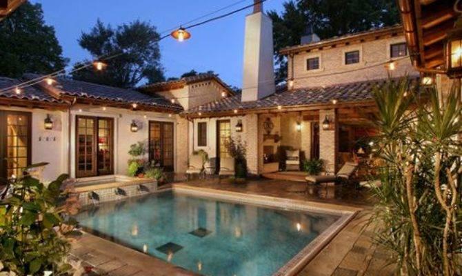 Courtyard Pool Home Design Ideas Remodel Decor