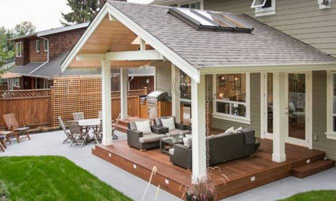 Covered Back Porch Backyard Patio Plans Design Idea