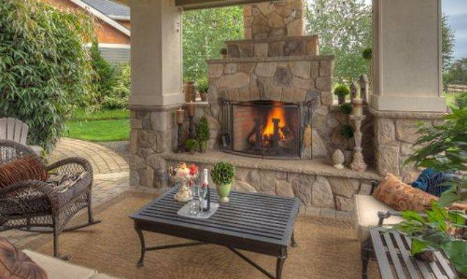 Covered Patios Fireplaces Houzz