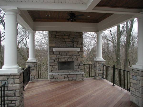 Covered Porch Stone Fireplace House