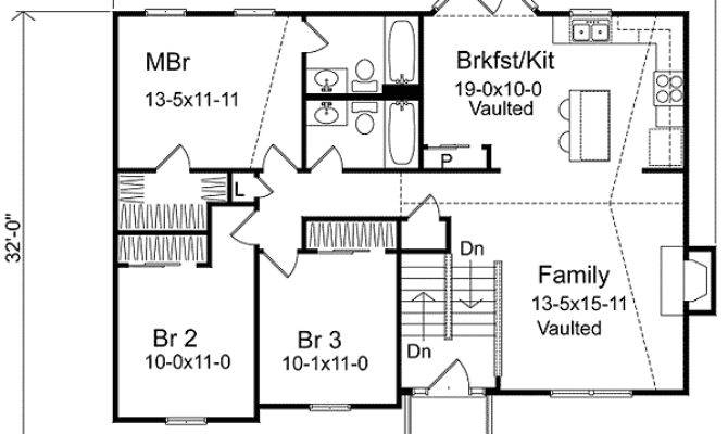 Cozy Split Level Home Plan Traditional Narrow