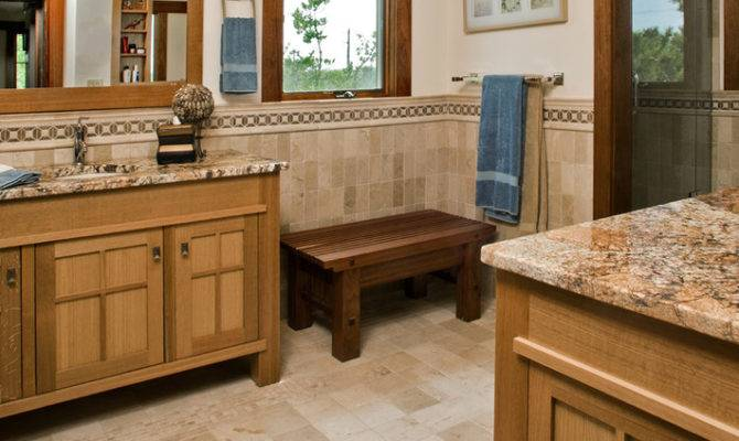 Craftsman Style Bathroom Playing Tiles Natural