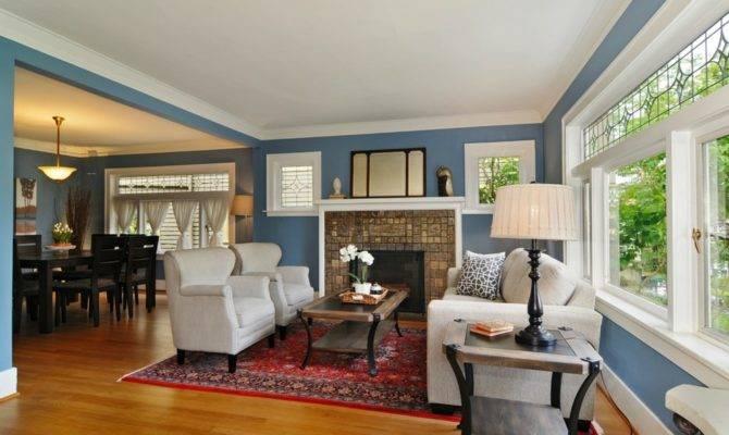 Craftsman Style Windows Living Room Blue