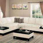 Cream Bonded Leather Modern Sectional Sofa Side Tables Crss