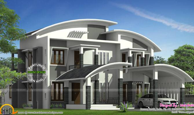 Curved Roof House Plan Kerala Home Design Floor Plans House Plans 136250