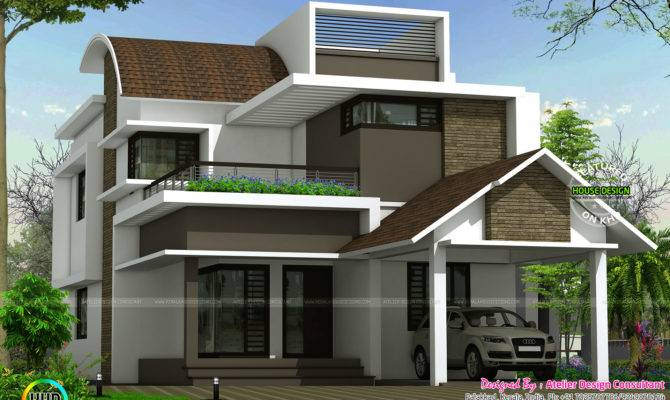 Curved Roof Mix Contemporary Home Kerala