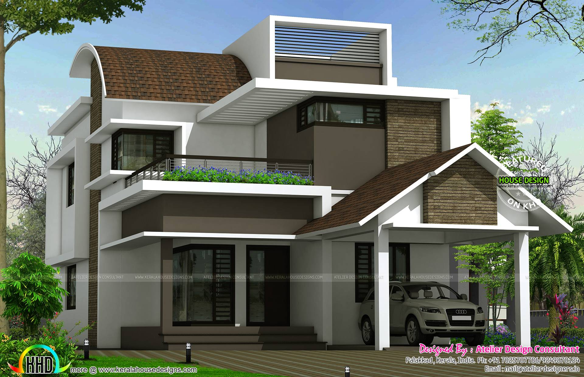 Curved Roof Mix Contemporary Home Kerala House Plans 136248