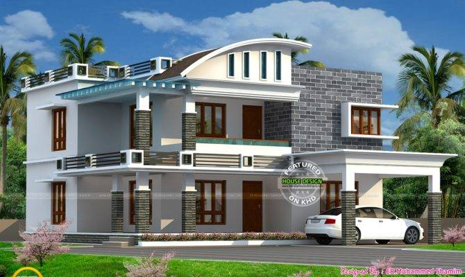 Curved Roof Mix House Kerala Home Design Floor