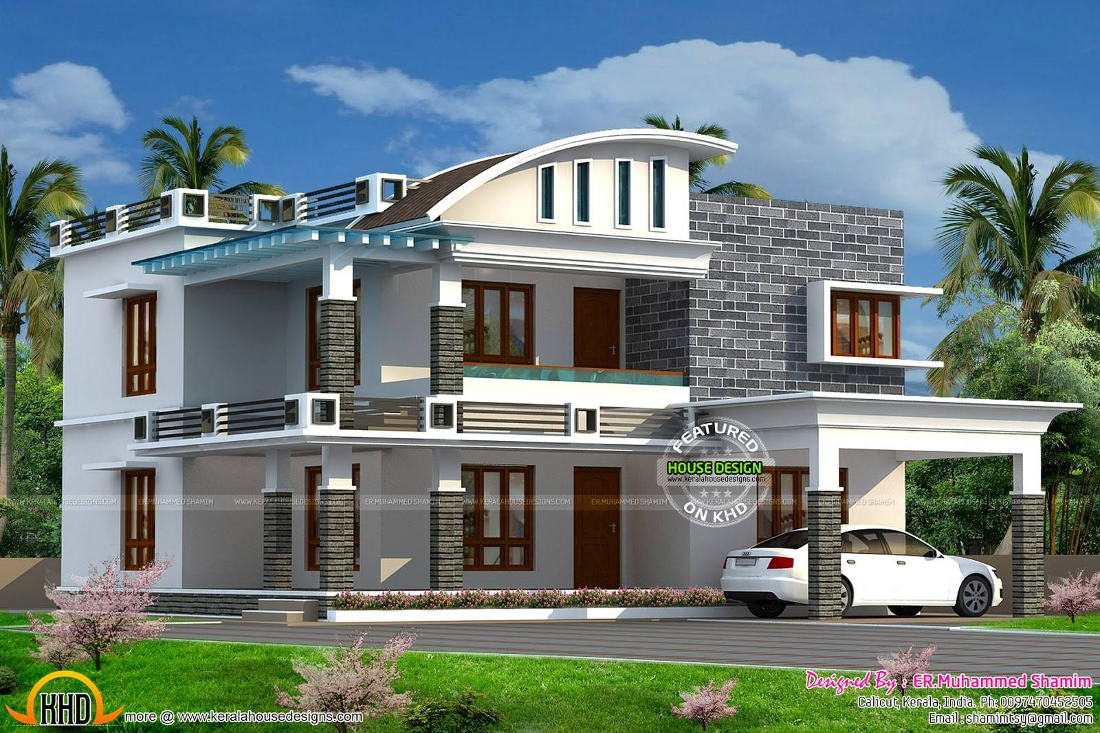 Curved Roof Mix House Kerala Home Design Floor House Plans 136247