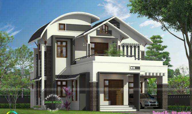 Curved Roof Mix Modern Home Kerala