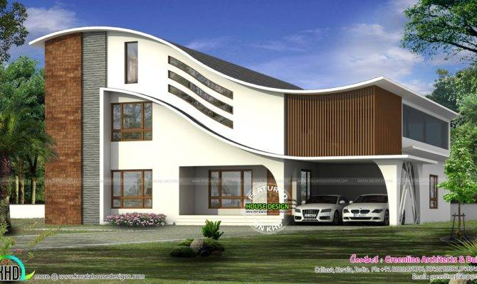 Curved Roof Modern Home Kerala Design