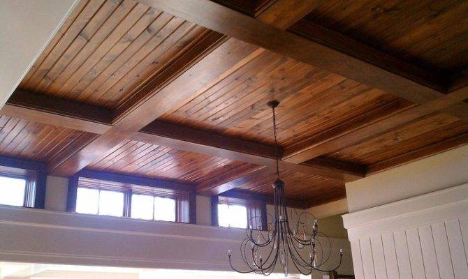 Custom Coffered Pine Ceiling
