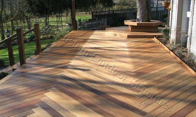 Custom Ipe Deck Herringbone Decking Pattern