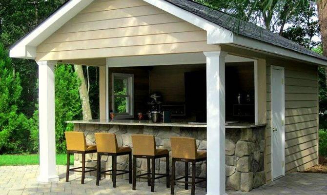 Custom Pool House Cabana Granite Topped Bar