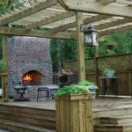 Custom Wood Deck Outdoors Fireplace