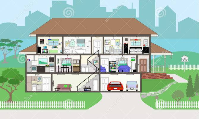 Cutaway House Highly Detailed Rooms Eps Vector