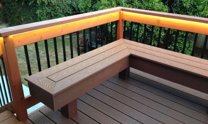 Deck Bench Composite Redwood Contemporary